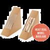 Sandwich pack karton kraft 130x130x70mm, 2st, scharnierdeksel