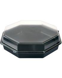 Duni cateringschaal PS OCTAVIEW zwart/transp 305x305x80mm afscheurbaar scharnierdeksel - A0863/80