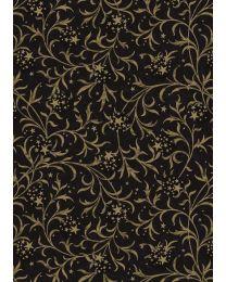 Zwart/goud geschenkpapier Ornament - 60cmx150m