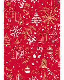 Rood geschenkpapier Huizen Merry - 50cmx250m - kraft