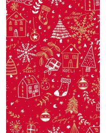 Rood geschenkpapier Huizen Merry - 60cmx250m - kraft