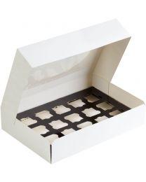 Duni cateringdoos karton wit 360x250x80mm scharnierdeksel met venster