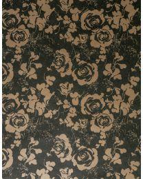 Zwart geschenkpapier bloemen Native kraft - 1661 6001