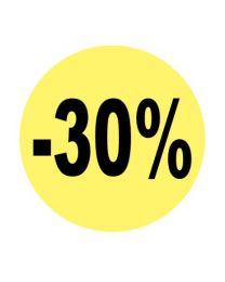 Etiket rond 3cm fluo geel + opdruk zwart -30% - EC30PROMO