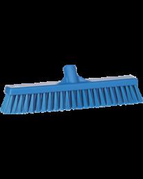 Veegborstel, polyester vezels, zacht en hard 130x46x400mm, blauw 3174/3