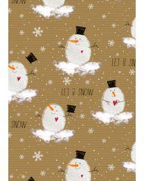 Bruin geschenkpapier Sneeuwman Merry - 70cmx250m