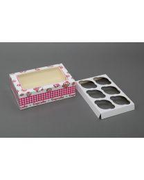 Cupcakedozen met venster voor 6 cupcakes 24x16x8cm - CC24168