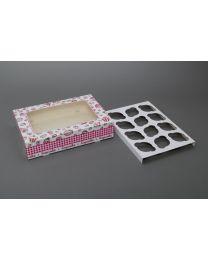 Cupcakedozen met venster voor 12 cupcakes 36x25x8cm - CC36258