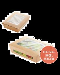 Salad box karton kraft 150x115x50mm 600ml scharnierdeksel met venster