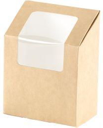 Duni Tortilla box karton kraft 90x50x130mm 550ml scharnierdeksel met venster