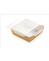 Combi Salad box karton kraft/wit 150x150x50mm 900ml + PET deksel