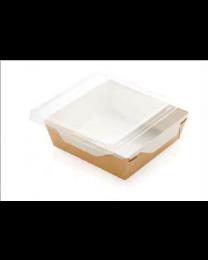 Combi Salad box karton kraft/wit 220x160x55mm 1700ml + PET deksel