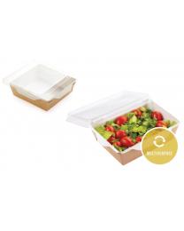 Combi Salad box karton kraft/wit 165x165x65mm 1300ml + PET deksel
