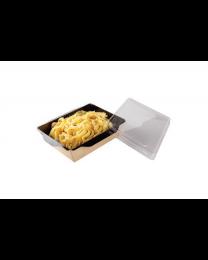 Combi Salad box karton kraft/zwart 207x127x55mm 800ml + PET deksel