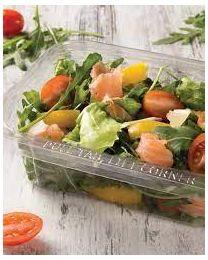 Saladeverp PET rechthoekig 156x115x51mm scharnierdeksel 480ml verzegelbaar, eurolock