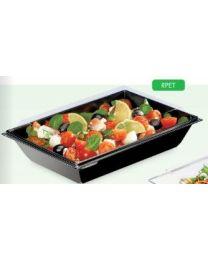 Combi portion tray RPET TAKIPACK zwart 122x122x40mm + deksel transp - CARO161PN