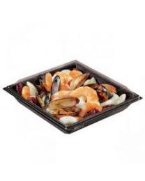 Combi saladeverp RPET FRESHIPACK zwart 180x180x46mm 700ml + deksel transp