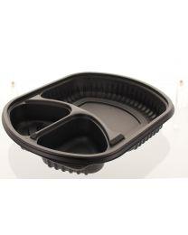 HMR container MEALMASTER zwart 238x203x35mm 850ml 3 comp - T94638