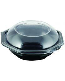 Cateringschaal PS OCTABOWL zwart/transp 230x230x72mm afscheurbaar scharnierdekse