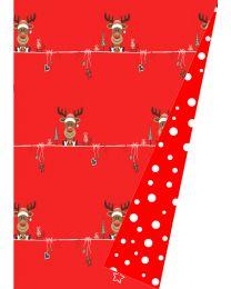 Dubbelzijdig rood/wit geschenkpapier Rendier Merry - 70cmx175m