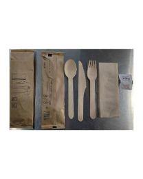 BESTEKSET hout 6-delig (vork+mes+lepel+servet+zout+peper)