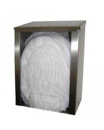 Dispenser voor haarnetjes-overschoenen-... in RVS+plexi glas 30x20x43cm