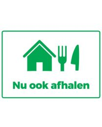 STICKER Nu ook afhalen stickers, horeca, easy dot + glans laminaat