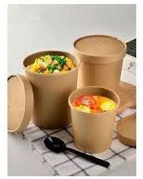 Food bowl karton bruin kraft rond