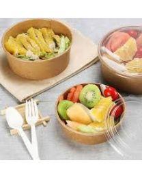 Salad bowl karton rond bruin