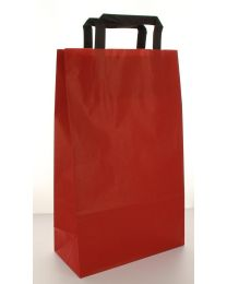 Draagtas Platte handgrepen bruin gelijnde KRAFT 80gr/m² ROOD 32+14x42cm -KBRF42R
