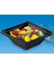 Combi saladeverp PYRAMIPACK zwart 200x170x30mm 500ml + deksel transp - PY501N