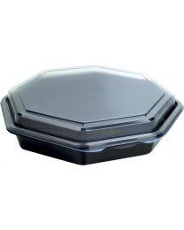 Cateringschaal PS OCTAVIEW zwart/transp 230x230x50mm afscheurbaar scharnierdekse