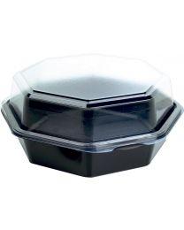 Cateringschaal PS OCTAVIEW zwart/transp 190x190x80mm afscheurbaar scharnierdekse