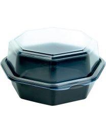 Cateringschaal PS OCTAVIEW zwart/transp 160x160x80mm afscheurbaar scharnierdekse