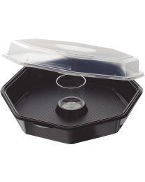 Cateringschaal PS OCTAVIEW zwart/transp 190x190x70mm afscheurbaar scharnierdekse
