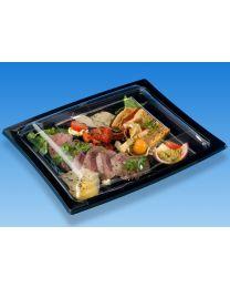 Combi presenteerschotel PS QUADRIPACK zwart 255x215x47mm + deksel OPS transp C&C