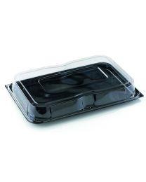Combi presenteerschotel PET ULTIMATE rechthoekig zwart 350x240x70mm + deksel PET