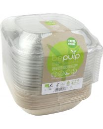 Combi Bowl schuin pulp BEPULP naturel 190x190x72mm 750ml + deksel RPET