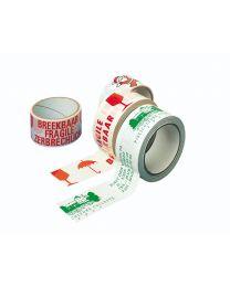 Kleefband PVC - 50 mm x 66 M - oranje - opdruk breekbaar - TA4001