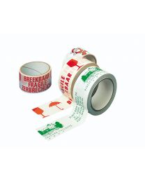 Kleefband PVC -48mmx66m- wit - rood 'glas+breekbaar 3 talen' - TA4005