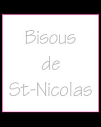 Etiket vierkant 30x30mm wit + opdruk zilver BISOUS DE ST-NICOLAS - EV3SN