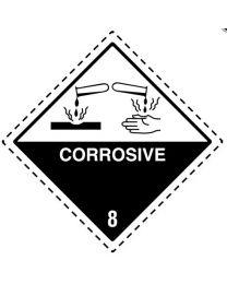 Symbooletiketten in PE-100 mm x 100 mm - 'Corrosive 8' - SE1005-01