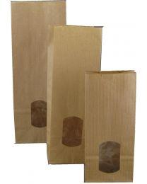 Blokbodemzakjes met venster BRUIN gelijnde kraft 80gr/m² + PE 30my 10,5+6,5x27cm