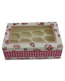 Cupcakedozen met venster voor 12 mini cupcakes 24x16x8cm - CC24168MINI