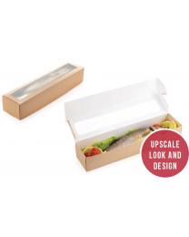 Food box karton kraft 350x80x60mm scharnierdeksel met venster