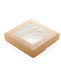 Take away box karton kraft 200x200x40mm 1500ml scharnierdeksel met venster