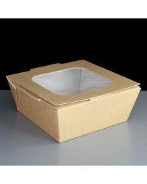 Food box karton kraft 125x125x60mm scharnierdeksel met venster 800ml