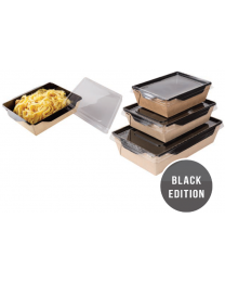 Combi Salad box karton kraft/zwart 207x127x55mm 800ml + PET deksel