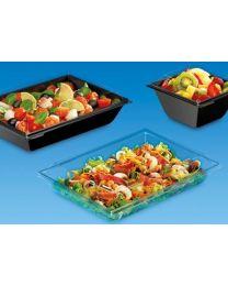 Combi saladeverp RPET TAKIPACK zwart 231x171x30mm 900ml + deksel transp - CAR901