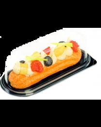 Combi portion tray (eclair) PS TAKIPACK zwart 177x72x55mm + deksel transp